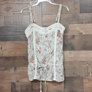 Romy floral lace semi button semi sheer tank top S